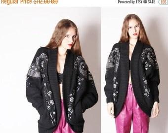 Final SALE 55% Off - Oversize Sweater / Avant Garde / Cocoon / Batwing / Sequin / Sequins / Sweater Coat / 1980s Sweater / Art Deco / / 0763