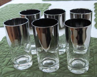 6 Vintage Mid Century Silver Lustre On Clear High Ball Flat Tumbler Glasses Circa 1970's