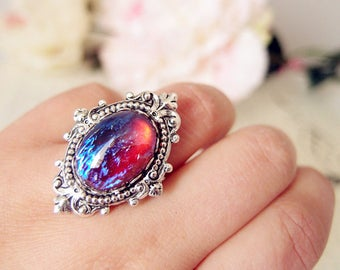Lycoris No.2-- Dragon's breath opal glass stone antique silver brass adjustable ring V101