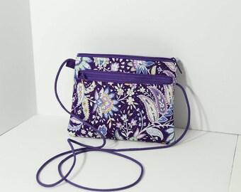 Ellen Walletpurse in Purple Jacobean Floral