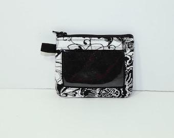 "ID purse in Black & White Mosaic 3.5"" x 4.5"""