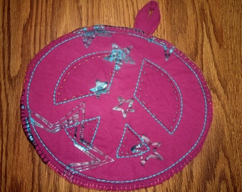 Random works of Art potholder, Peace Potholder, recycled wool and t shirts potholder