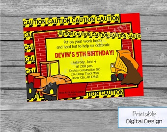 Let's Build Birthday Party Invitation Style DI2124 DIGITAL FILE - Printable
