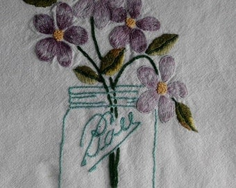 Mason Jar Bouquet Embroidery Pattern