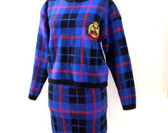 Vintage 80s Blue Plaid Knit Suit by Gitano - Blue Plaid Sweater Suit - Plaid Knit Skirt and Sweater Suit - Size Small