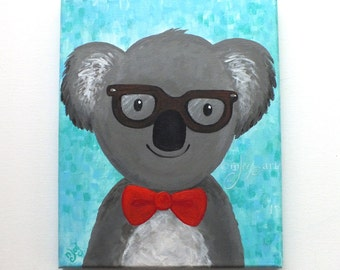 Hipster Koala Bear, Whimsical Art, whimsical animal art for home or office