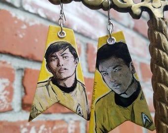 Sulu Through the Years - Star Trek the Original Series hand-painted earrings golden yellow