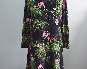 Sale 20% OFF Ruocco for Albert Schwartz Retro Mad Men Shift Navy Floral Orchid Dress