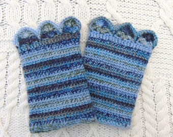Blue Wrist Cuffs, Pure Wool Crochet Cuffs, Hand Crocheted Wrist Cuffs, Wristlets, Arm Warmers, Handmade in Ireland