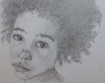 Portrait Of A Child In Pencil Girl With Earring Original Art Realistic A4