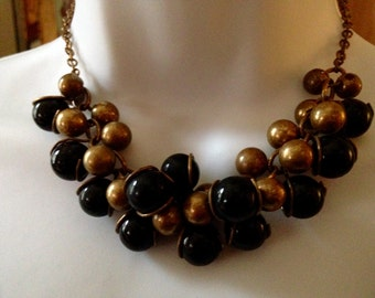 Original Vintage Art Deco Bubble Beads Necklace Black Glass Brass Ball Beads Cluster Necklace Classic