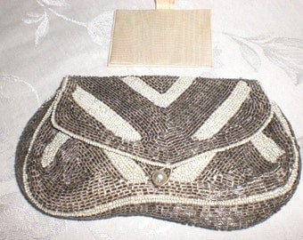 Art deco purse, Clutch, Dance purse, minibag, silver and white, beaded, made in france
