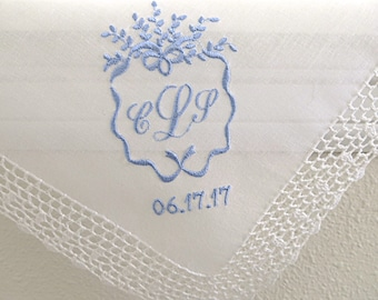 Something Blue Wedding Handkerchief, handkerchief for the Bride, Mother of the Bride Monogrammed Handkerchief