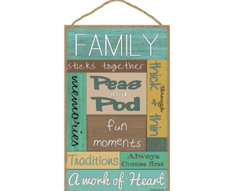 "Family Saying Loving Subway Style Sign Plaque 10""x16"""