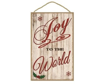 "Joy To The World Christmas Holiday Sign Plaque 10""x16"""