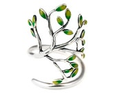 Handmade Sterling Silver Tree of Love Adjustable Ring with Green Enameled leaves/ Branch Jewelry/ Christmas Gifts/ TLR10