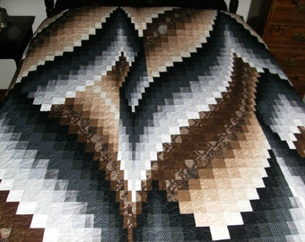 Bargello Vine and Branches Pattern Brown and Black KING Size Quilt