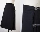 Vintage Black Wool Midi Pleated Skirt Classic S-M