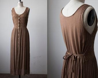 Vtg 90s Brown Gauze Maxi Dress Boho Festival Bohemian Embroidered Button Down S-M