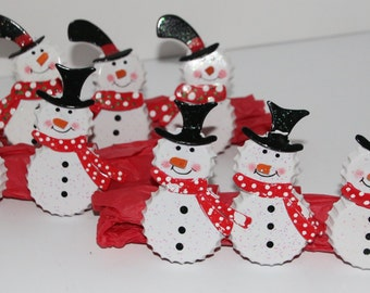 Bottle Cap Snowman Napkin Rings Set of 8