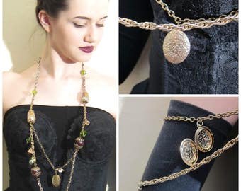 Vintage 1960s Funky Chain Necklace with Beads, Baubles and Locket / 60s Eclectic Boho Chain Belt