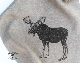 Rustic Woodland Moose Tea Towel, Original Moose Print Dish Towel, Natural Linen Tea Towel