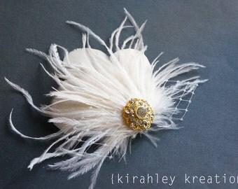 Ivory Off White Ostrich Feather Veil Prom Wedding Bride Bridal CYNTHIA Fascinator Headpiece Hair Clip Rhinestone Custom Colors Great Gatsby