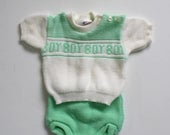 50% OFF SALE 1960s CRADLEKNIT Baby Boy's Sweater Set . Vintage 60s 70s White Green Acrylic Knit Sweater and Knit Pants . Made in Japan . Siz