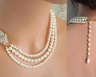 Pearl Necklace Backdrop Bridal necklace crystal pearl necklace Statement Bridal Necklace Swarovski ivory pearl necklace white pearl ROSELANI