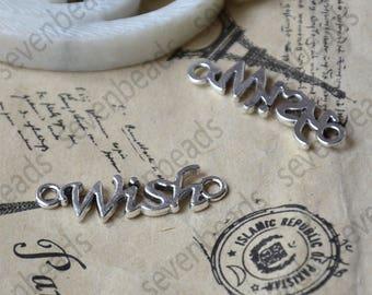24 pcs Antique Silver wish Connectors Charms Pendant,pendant Flower Connector ,Charm findings bead
