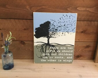 Roots and Wings - Roots Sign - Wings Sign - Roots Quote - Wings Quote - Living Room Decor - Family Roots Sign - Family Sign - Rustic Décor