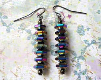 Metallic Blue and Magenta and Gold Hematite Earrings (3221)