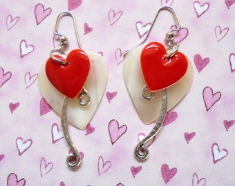 Red, White and Silver Valentine Earrings (3347)