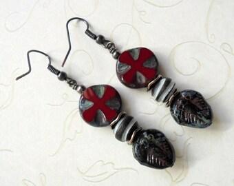 Maroon, Black and White Trilobite Ethnic Boho Earrings (3441)