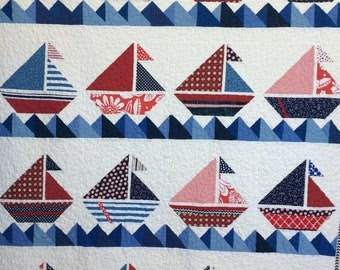 Dreamy Sail Away Americana Quilt by Dreamy Vintage Sheets