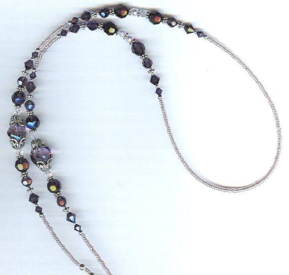 "Swarovski Purple Velvet ""Cardinal""  Beaded ID Badge Lanyard or Eyeglass Chain"