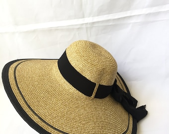 Adjustable Lady Straw Sun Hat 5.6inch brim (Black)