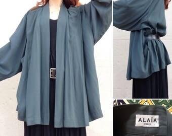 ALAIA Paris dark green cotton Kimono jacket