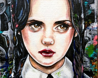 Wednesday - 8x10 Stretched Canvas  Print Giclee Illustration Creepy Cute Spooky Gift Addams Family Lowbrow Art