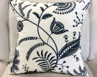 "Designer Navy Blue and White Embroidered Floral Pillow Cover- 20"" Finshed Cover"
