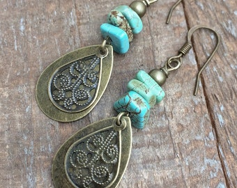 Boho Earrings Dangle, Boho Dangle Drop Earrings, Boho Brass Drop Earrings, Dangle Boho Earrings, Turquoise Earrings Dangle