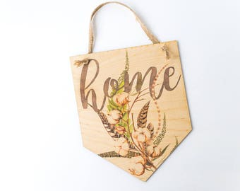 Printed Plywood Pennant   Cotton Home   Gifts under 15