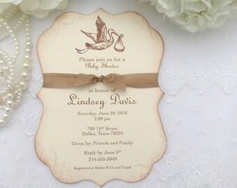 Gender Neutral Invitations Baby Shower Invitations Stork Set of 10