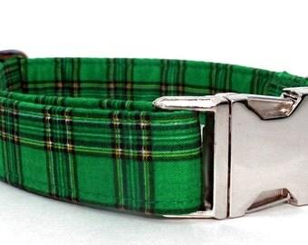 Green Plaid Dog Collar with Nickel Plate Hardware - Sullivan Plaid in Emerald Green