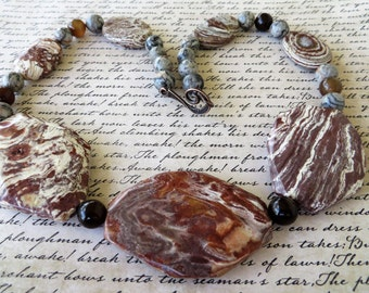 Large Statement Brown Swirled Jasper And Brown Agate Beaded Necklace