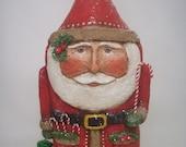 RESERVED FOR KATHY Paper Mache Santa- Folk Art Santa, Primitive Santa, Santa Sculpture