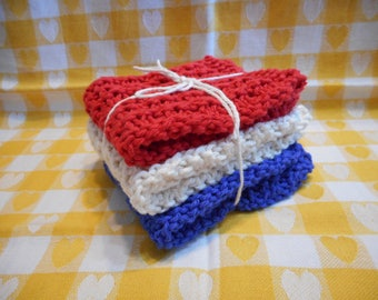 Kitchen Dishcloths Knitted  Set of 3  Red White Blue