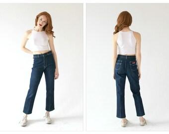 1970s Dark Wash High Waist Jeans- 28, Chemin De Fer, Straight Leg Short Length