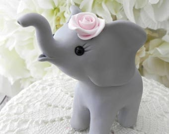 Elephant Baby Shower Cake Topper, Gray and Pink Baby Girl Elephant, New Mommy Gift, Keepsake, Nursery Decor