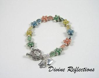 Flower Bracelet, Multi Color Flower Bracelet